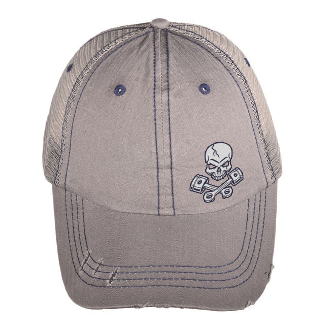 Skull and Pistons Crossbones Low Profile Distressed Mesh Truckers cap (Light Gray)