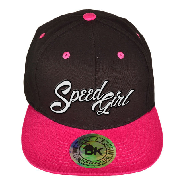 Speed Girl Flat Bill Cap (Black/Fuchsia), adjustable snap-back design.