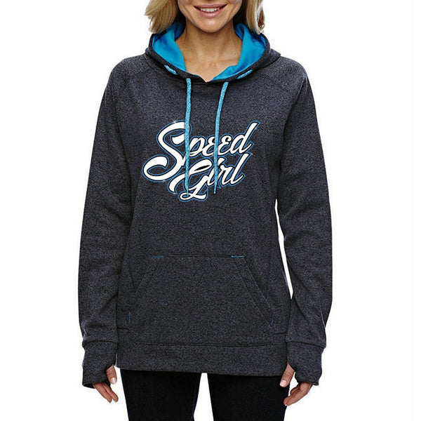 Speed Girl Hoodie - Onyx Fleck / Electric Blue with Blue Logo