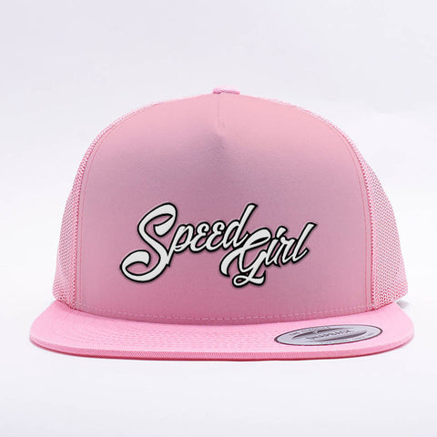 Speed Girl Trucker Mesh Cap (Pink) with adjustable snapback closure.