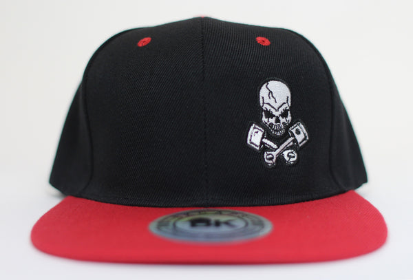 Piston Rods Skull and Crossbones Adjustable Flat Bill Cap, Black/Red