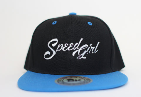 Speed Girl Flat Bill Cap (Black/Electric Blue), adjustable snap-back design.