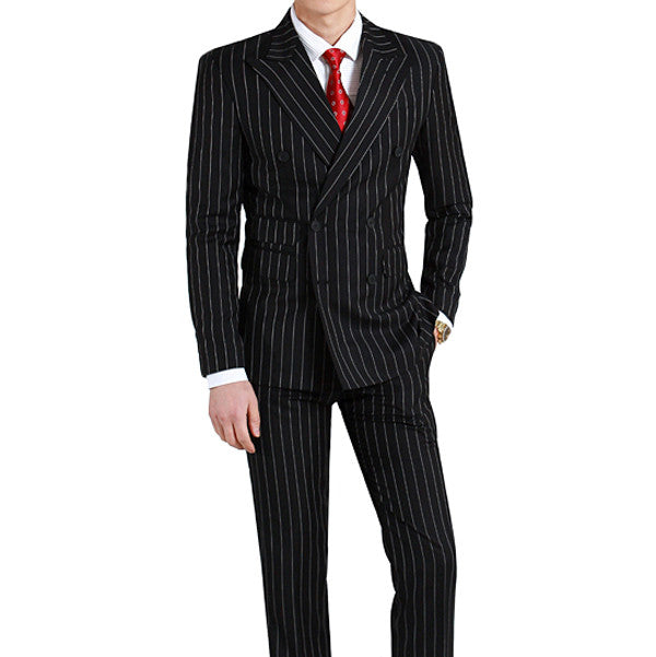 Black Pinstripe Suit - ChicerMan