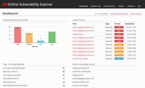 Acunetix Online Security Vulnerability Scanner