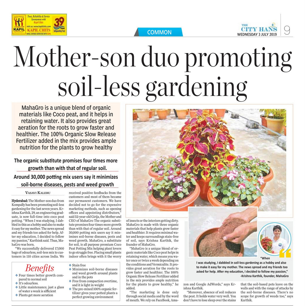 hans india gardening news about mahagro potting and its benefits