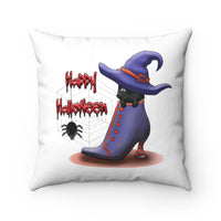 Happy Halloween Cat Witch in a Boot Pillow