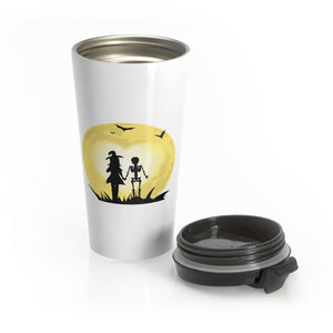 Romantic Witch and Skeleton Walking Hand in Hand to the Moon Travel Mug
