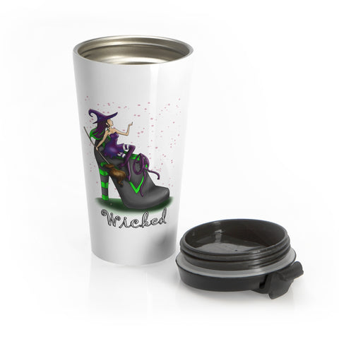 Wicked Witch In A Boot Holding Broom Halloween Travel Mug