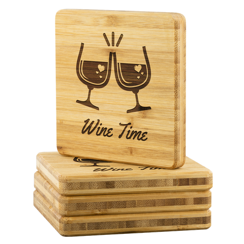 Wine Time Bamboo Wine Glass Coaster - Great Wedding Gift
