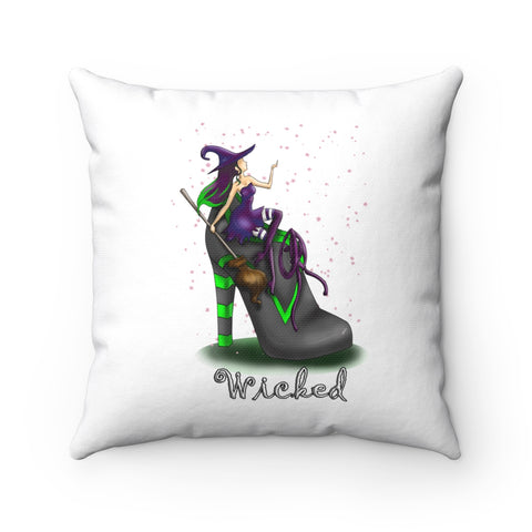 Wicked Witch In A Boot Holding Broom Halloween Pillow