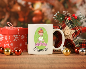 Namaste Zen Girl Coffee Mug, Perfect gift for a yoga fan or teacher