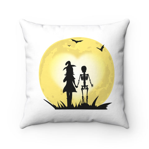 Romantic Witch and Skeleton Walking Hand in Hand to the Moon Pillow