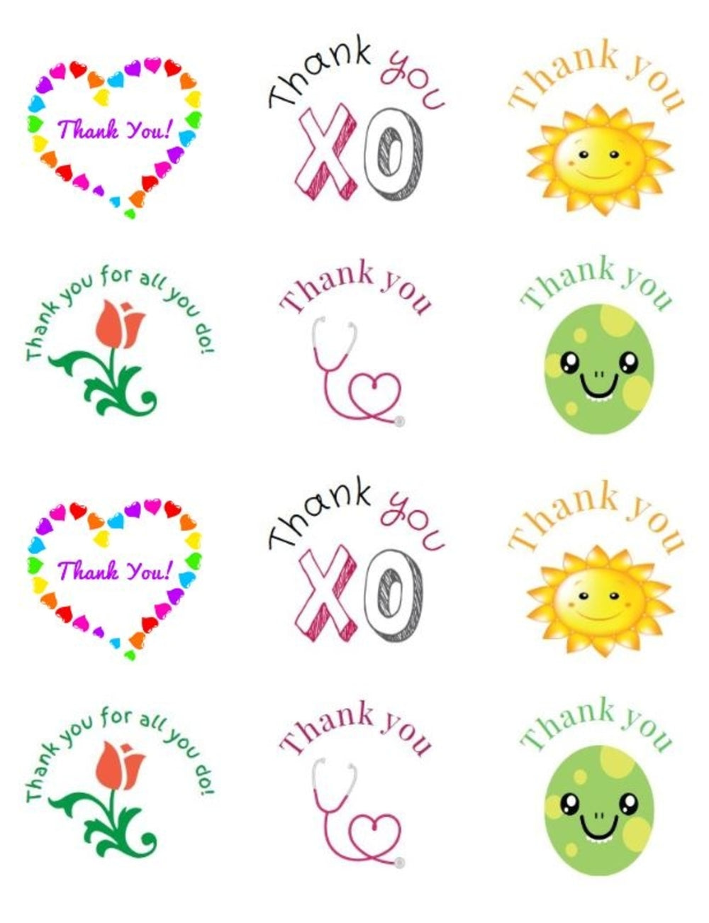 Thank You Stickers Variety Sheet of Stickers – Baking Labels, Cookie Labels, Made with Love, Baked with Love  – Sheet of 12