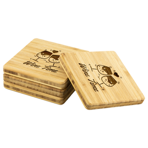 Wine Time Bamboo Drink Coaster - Wedding Gift