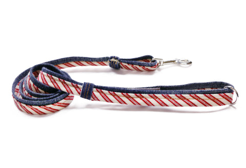 Leash, Denim with Red Stripe Trim