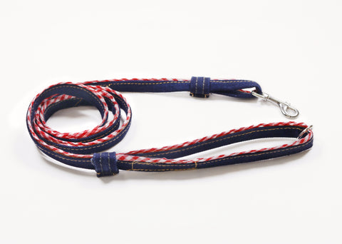 Leash, Denim with Gingham Trim