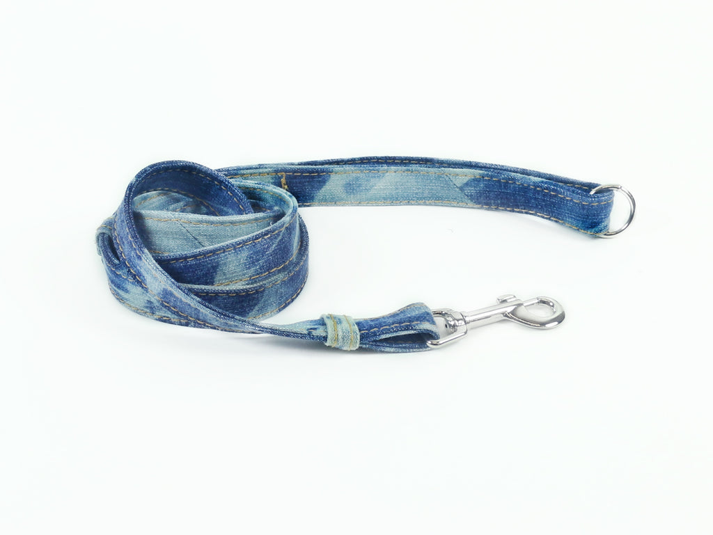 Leash, Blue Tie-Dye Denim