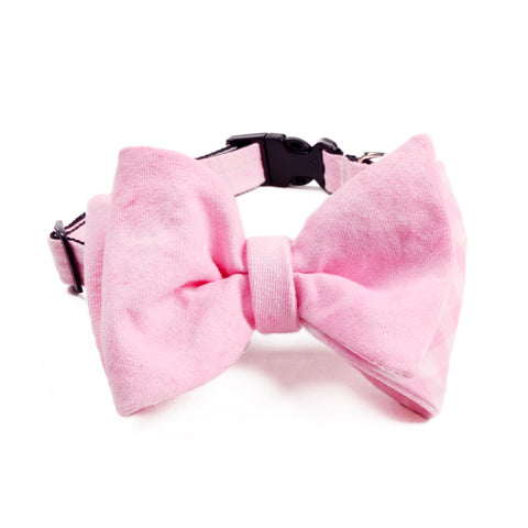 PINK GINGHAM Bow Tie Collar.  Donate