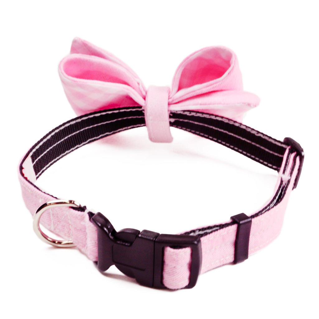 PINK GINGHAM Bow Tie Collar