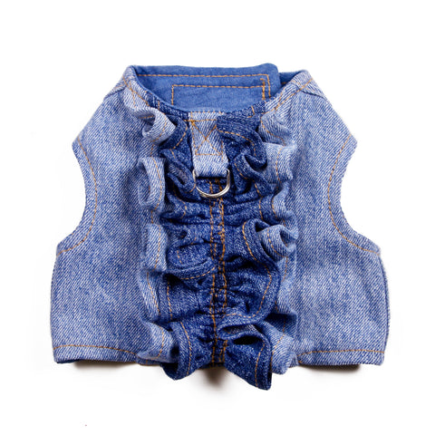 BLUE RUFFLES Migrubbie Denim Harness.  Donate