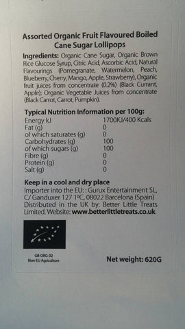 YumEarth Organics Ingredient label