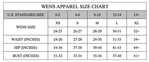 wens apparel size guide and measurements
