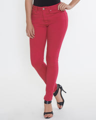 WENS Apparel High Rise Skinny Color Denim in color Crimson Red