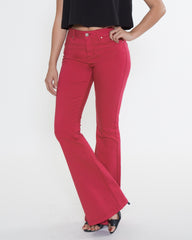 WENS Apparel Jane Flare Denim Jean in Crimson Red