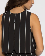 WENS Apparel Skyline Black and White Stripe Crop Top