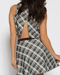 WENS Apparel Plaid Crop Top Skater Skirt Set