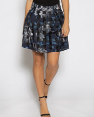 WENS Apparel Flower Skater Skirt in color Navy Blue