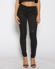 WENS Apparel Moto Skinny Denim Jean in color Black