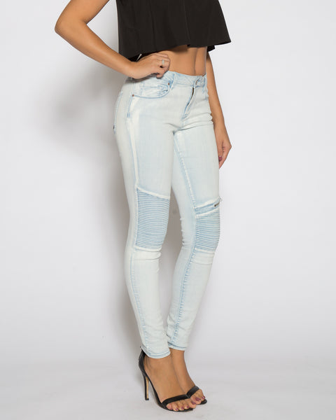 Moto Skinny Jean- Light Indigo