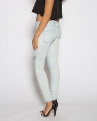 WENS Apparel Moto Skinny Denim Jean in color Light Indigo