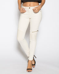 WENS Apparel Moto Skinny Denim Jean in color Off White