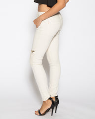 WENS Apparel Moto Skinny Denim Jean in Off White