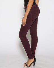 WENS Apparel High Rise Skinny Color Denim in color Burgundy