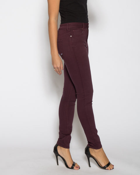 High Rise Color Denim- Burgundy