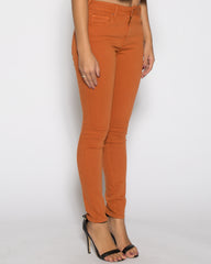 WENS Apparel High Rise Skinny Color Denim in color Bombay Brown