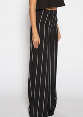 WENS Apparel Skyline Black and White Stripe Palazzo Pants