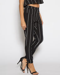 WENS Apparel Black and White Stripe Women's Jogger Pant