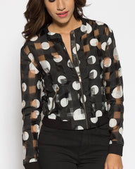 WENS Apparel Polka Dot Bomber Jacket in color Black and White