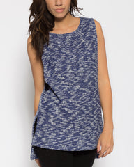 WENS Apparel Grayson Knit Sweater Tank in color White/Blue