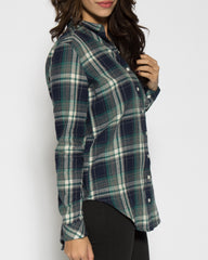 WENS Apparel- Rue Plaid Tunic Top in color Green/Blue