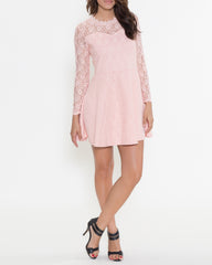 WENS Apparel Bella Lace Dress with long sleeves in Pink