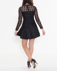 WENS Apparel Bella Lace Dress with long sleeves in color Black