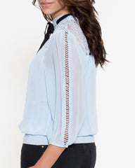 WENS Apparel Cindy Lace Top with Neck Tie in Blue