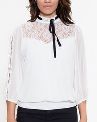 WENS Apparel Cindy Lace Top with neck tie in White
