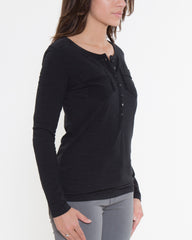 WENS Apparel Dawson Henley Top in Color Black