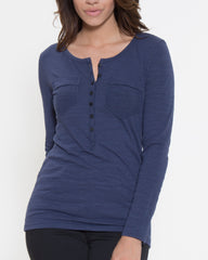 WENS Apparel Dawson Henley Top in Color Blue
